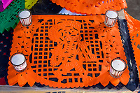 Oaxaca, Mexico, North America.  Day of the Dead Decorations.  Placemats with Skeleton Design.