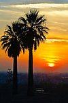 Bakersfield, California sunset as seen from Panorama Park.