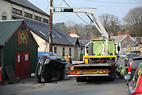 Pictured: The black Ford Fiesta is being recovered from Clifton Street in Laugharne, Carmarthenshire, Wales, UK. Monday 27 March 2017<br />Re: An accident involving a black Ford Fiesta nad a Volvo car has blocked the main road through, Laugharne in Carmarthenshire.<br />The A4066 Clifton Street in Laugharne has been closed in both directions because of the accident near the Memorial Hall.<br />The incident has led to congestion between St Clears and Pendine.