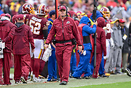 Landover, MD - September 23, 2018: Washington Redskins head coach Jay Gruden on the sideline during game between the Green Bay Packers and the Washington Redskins at FedEx Field in Landover, MD. The Redskins get the win 31-17 over the visiting Packers. (Photo by Phillip Peters/Media Images International)