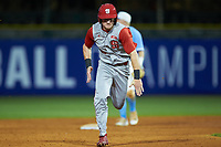 Brock Deatherage (13) of the North Carolina State Wolfpack hustles towards third base against the North Carolina Tar Heels in Game Twelve of the 2017 ACC Baseball Championship at Louisville Slugger Field on May 26, 2017 in Louisville, Kentucky. The Tar Heels defeated the Wolfpack 12-4. (Brian Westerholt/Four Seam Images)