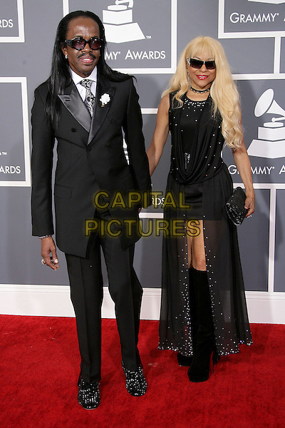 Verdine White & guest.The 55th Annual GRAMMY Awards held at STAPLES Center Los Angeles, California, USA..February 11th, 2013.grammys full length black suit sunglasses shades dress holding hands.CAP/ADM.©AdMedia/Capital Pictures.