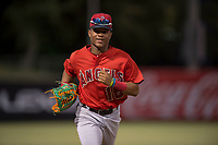 AZL Angels left fielder Datren Bray (16) jogs off the field between innings of an Arizona League game against the AZL Diamondbacks at Tempe Diablo Stadium on June 27, 2018 in Tempe, Arizona. The AZL Angels defeated the AZL Diamondbacks 5-3. (Zachary Lucy/Four Seam Images)