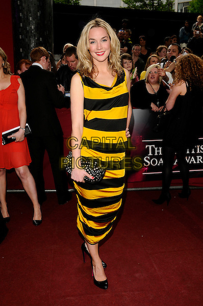 ALICE COULTHARD .Arrivals - the British Soap Awards 2009,.BBC Television Centre, Wood Lane, London, England, UK, May 9th 2009..soaps tv full length black and yellow bee wasp striped dress clutch bag shoes .CAP/CAN.©Can Nguyen/Capital Pictures