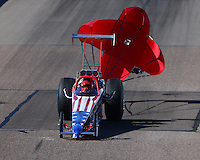 Feb 27, 2016; Chandler, AZ, USA; NHRA top dragster driver XXXX during qualifying for the Carquest Nationals at Wild Horse Pass Motorsports Park. Mandatory Credit: Mark J. Rebilas-