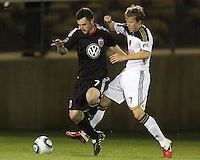 Stephen King(7) of D.C. United fights for the ball against Brian Carroll(7) of the Philadelphia Union during a play-in game for the US Open Cup tournament at Maryland Sportsplex, in Boyds, Maryland on April 6 2011. D.C. United won 3-2 after overtime penalty kicks.