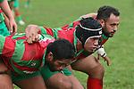 The Waiuku front row of Kojak Faioso, Kato Nganeko & Michael Poa. Counties Manukau Premier rugby game between Waiuku & Ardmore Marist played at Waiuku on Saturday May 10th 2008..Ardmore Marist won 27 - 6 after leading 10 - 6 at halftime.
