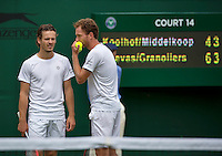 London, England, 3 July, 2016, Tennis, Wimbledon, Men's doubles Wesley Koolhof (NED) and partner Matwe Middelkoop (NED) (R)<br /> Photo: Henk Koster/tennisimages.com