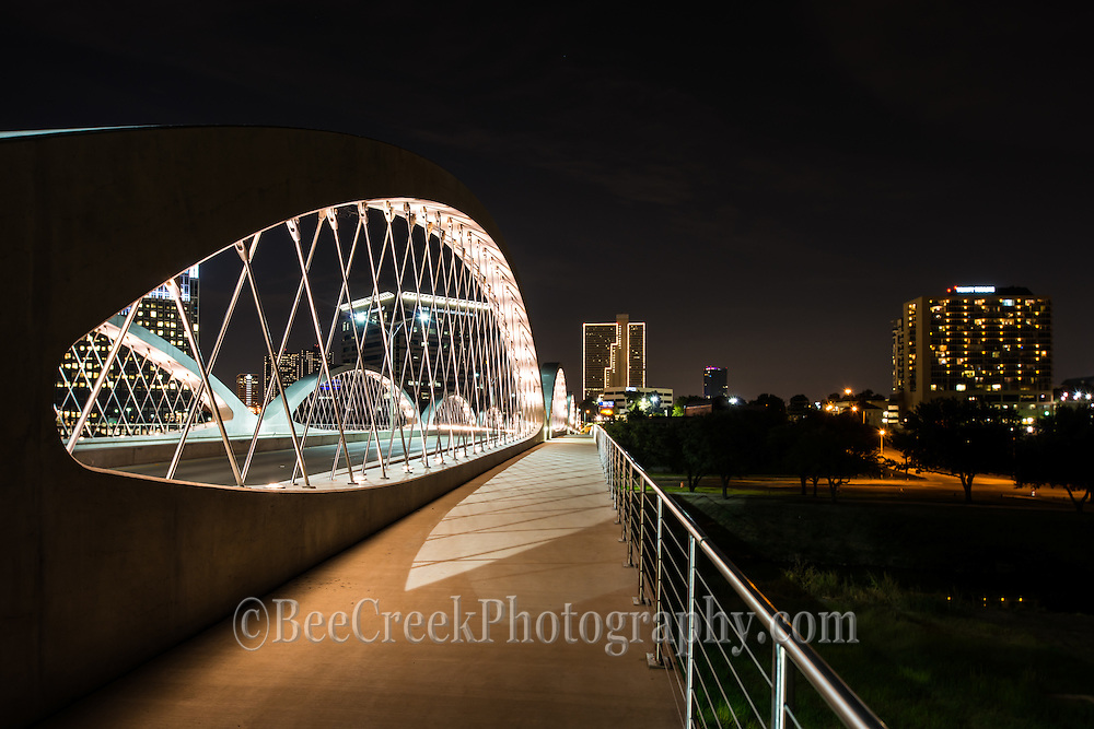 The photos of the Fort Worth seventh street bridge at night were really great so it was hard to pick what shots to include of this modern architectural feature in the city.  This modern bridge with it unique architecture is a nice addition to the city.  This 7th street bridge crosses over the Trinity river below to make access to downtown easier.