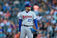 Buffalo Bisons starting pitcher T.J. Zeuch (27) looks to his catcher for the sign against the Charlotte Knights at BB&T BallPark on July 24, 2019 in Charlotte, North Carolina. The Bisons defeated the Knights 8-4. (Brian Westerholt/Four Seam Images)