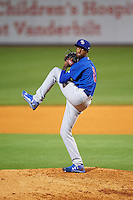 Iowa Cubs relief pitcher Carl Edwards Jr. (11) delivers a pitch during a game against the Nashville Sounds on May 3, 2016 at First Tennessee Park in Nashville, Tennessee.  Iowa defeated Nashville 2-1.  (Mike Janes/Four Seam Images)