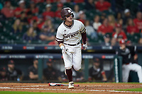 Luke Alexander (7) of the Mississippi State Bulldogs starts down the first base line during the game against the Houston Cougars in game six of the 2018 Shriners Hospitals for Children College Classic at Minute Maid Park on March 3, 2018 in Houston, Texas. The Bulldogs defeated the Cougars 3-2 in 12 innings. (Brian Westerholt/Four Seam Images)