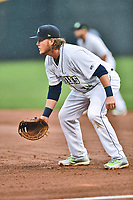 Northern Division first baseman Dash Winningham (34) of the Columbia Fireflies during the South Atlantic League All Star Game at Spirit Communications Park on June 20, 2017 in Columbia, South Carolina. The game ended in a tie 3-3 after seven innings. (Tony Farlow/Four Seam Images)