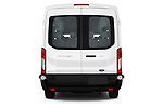 Straight rear view of a 2019 Ford Transit Wagon 350 XLT Wagon Med Roof Sliding Pass. 148 5 Door Passenger Van stock images