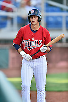 Elizabethton Twins right fielder Alex Kirilloff (30) in the on deck circle during a game against the Bristol Pirates at Joe O'Brien Field on July 30, 2016 in Elizabethton, Tennessee. The Twins defeated the Pirates 6-3. (Tony Farlow/Four Seam Images)