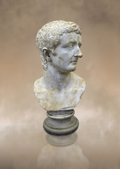 Roman marble sculpture bust of an Tiberius, 30 AD , inv 6052 Farnese Collection, Naples Museum of Archaeology, Italy
