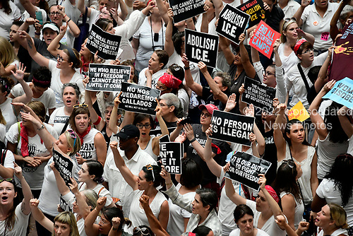 """""""Women's March in Civil Disobedience to End Family Detention"""" in the atrium of the Hart Senate Office Building in Washington, DC on Thursday, June 28, 2018.  <br /> Credit: Ron Sachs / CNP<br /> (RESTRICTION: NO New York or New Jersey Newspapers or newspapers within a 75 mile radius of New York City)"""