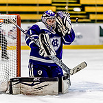 16 February 2019: Holy Cross Crusader Goaltender Julia Pelletier, a Sophomore from Pelham, NH, in second period action against the University of Vermont Catamounts at Gutterson Fieldhouse in Burlington, Vermont. The Lady Cats defeated the Crusaders 4-1 to sweep their 2-game weekend series. Mandatory Credit: Ed Wolfstein Photo *** RAW (NEF) Image File Available ***