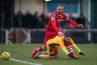 Lewwis Spence of Hornchurch and Chace Jacquart of Merstham during Hornchurch vs Merstham, BetVictor League Premier Division Football at Hornchurch Stadium on 15th February 2020