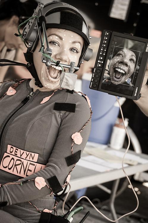 Devyn Dalton with performance capture helment cam
