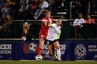 Western New York Flash forward Adriana Martin (8) and Sky Blue FC defender Kendall Johnson (5). The Western New York Flash defeated Sky Blue FC 2-0 during a National Women's Soccer League (NWSL) semifinal match at Sahlen's Stadium in Rochester, NY, on August 24, 2013.