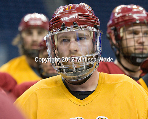 Jordie Johnston (FSU - 11) - The Ferris State University Bulldogs practiced on Wednesday, April 4, 2012, during the 2012 Frozen Four at the Tampa Bay Times Forum in Tampa, Florida.