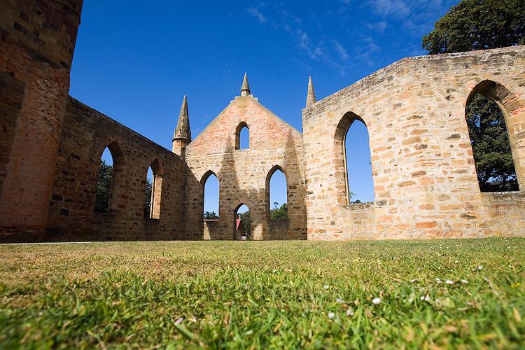 Inside the ruins of the Church at the Port Arthur Historic Site.  Port Arthur, Tasmania, AUSTRALIA
