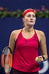 Kristina Mladenovic of France reacts during the singles Round Robin match of the WTA Elite Trophy Zhuhai 2017 against Julia Goerges of Germany at Hengqin Tennis Center on November  03, 2017 in Zhuhai, China.  Photo by Yu Chun Christopher Wong / Power Sport Images