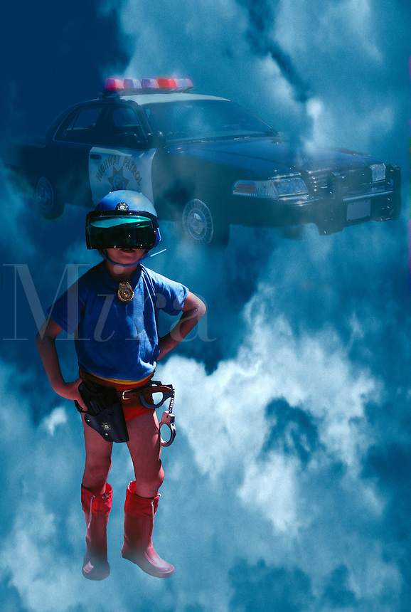 Composite image of a young boy pretending to be a member of the highway patrol.