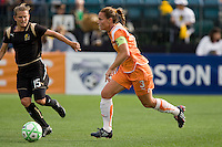 Christie Rampone (3) controls the ball against Tiffeny Milbrett. FC Gold Pride defeated Sky Blue FC 1-0 at Buck Shaw Stadium in Santa Clara, California on May 3, 2009.