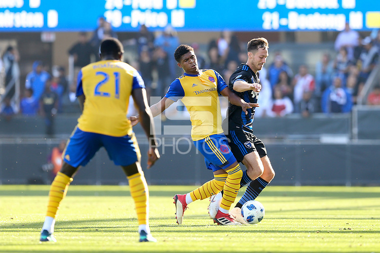 San Jose, CA - Sunday October 21, 2018: Francois Affolter during a Major League Soccer (MLS) match between the San Jose Earthquakes and the Colorado Rapids at Avaya Stadium.