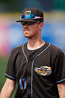 Akron RubberDucks pitcher Robbie Aviles (11) during a game against the Erie SeaWolves on August 27, 2017 at UPMC Park in Erie, Pennsylvania.  Akron defeated Erie 6-4.  (Mike Janes/Four Seam Images)