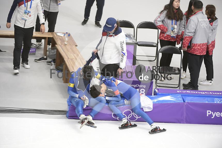 OLYMPIC GAMES: PYEONGCHANG: 21-02-2018, Gangneung Oval, Long Track, Team Pursuit Men, Silver Medalists Team Korea, Kim Min Seok, Chung Jaewon, ©photo Martin de Jong