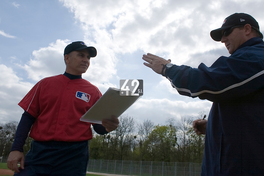 18 April 2006: MLB representatives are seen during the third of seven 2006 MLB European Academy Try-out Sessions throughout Europe, at Stade Pershing, INSEP, near Paris, France. Try-out sessions are run by members of the Major League Baseball Scouting Bureau with assistance from MLBI staff.