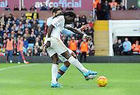 Bafetimbi Gomis of Swansea City shoots wide during the Barclays Premier League match between Aston Villa v Swansea City played at the Villa Park Stadium, Birmingham on October 24th 2015