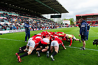 The Bristol Bears forwards practise their scrum during the pre-match warm-up. Gallagher Premiership match, between Leicester Tigers and Bristol Bears on April 27, 2019 at Welford Road in Leicester, England. Photo by: Patrick Khachfe / JMP