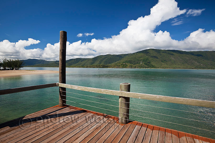 View from waterfront deck at Double Island Resort.  Palm Cove, Cairns, Queensland, Australia