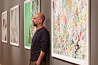 """Pictured: Stefanos Rokos. Wednesday 03 April 2019<br /> Re: Press call before the opening of Stefanos Rokos' exhibition """"No More Shall We Part"""" with paintings based on the 2001 Nick Cave and The Bad Seeds album with the same title, Benaki Museum, Athens, Greece."""