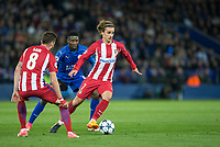 Antoine Griezmann of Club Atletico de Madrid turns Wilfred Ndidi of Leicester City  during the UEFA Champions League QF 2nd Leg match between Leicester City and Atletico Madrid at the King Power Stadium, Leicester, England on 18 April 2017. Photo by Andy Rowland.