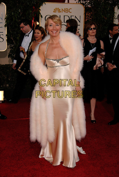 EMMA THOMPSON.HFPA 63rd Golden Globe Awards at The Beverly Hills Hilton, Beverly Hills, California, USA..January 17th, 2006.Ref: PL.globes full length pink silk satin dress fur wrap boa scarf.www.capitalpictures.com.sales@capitalpictures.com.©Phil Loftus/Capital Pictures