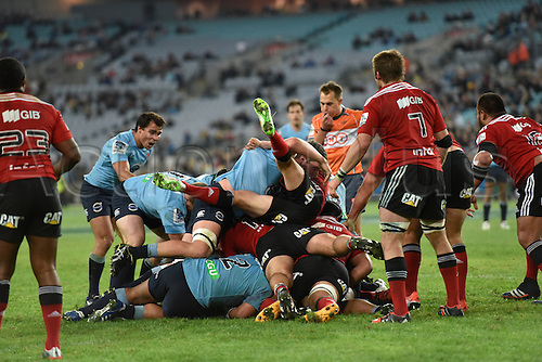 23.05.2015.  Sydney, Australia. Super Rugby. NSW Waratahs versus the Crusaders. Both teams pile into the lose maul after the ball as the referee blows the whistle. The Waratahs won 32-22.
