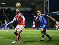 Fleetwood Town's Ched Evans competing with Gillingham's Connor Ogilvie<br /> <br /> Photographer Andrew Kearns/CameraSport<br /> <br /> The EFL Sky Bet League One - Gillingham v Fleetwood Town - Saturday 3rd November 2018 - Priestfield Stadium - Gillingham<br /> <br /> World Copyright &copy; 2018 CameraSport. All rights reserved. 43 Linden Ave. Countesthorpe. Leicester. England. LE8 5PG - Tel: +44 (0) 116 277 4147 - admin@camerasport.com - www.camerasport.com