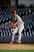 Reading Fightin Phils pitcher Connor Brogdon (10) during an Eastern League game against the Akron RubberDucks on June 4, 2019 at Canal Park in Akron, Ohio.  Akron defeated Reading 8-5.  (Mike Janes/Four Seam Images)