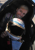 "Jan 20, 2007; Las Vegas, NV, USA; NHRA Super Comp driver Courtney Force during preseason testing at ""The Strip"" at Las Vegas Motor Speedway in Las Vegas, NV. Mandatory Credit: Mark J. Rebilas"