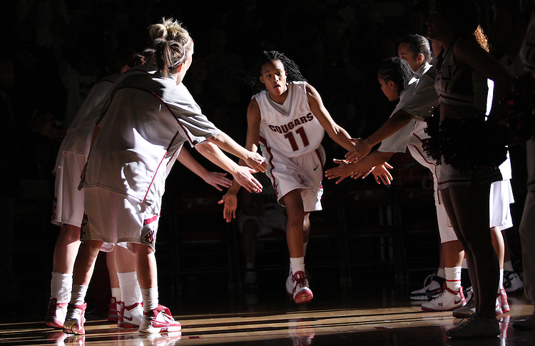 Jazmine Perkins (#11), Washington State University freshman guard, is introduced to the crowd prior to the Cougars game against Montana State in Pullman, Washington, on November 23, 2008.  WSU defeated the Bobcats 78-66.