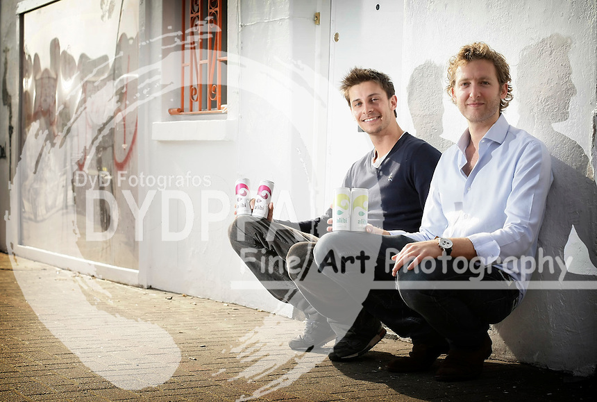 Oliver Bolton Founder of Alibi (L) and Alibi Commercial Director Tom Procter (R) pose for pictures with their product in west London, March 2012. Photo by Shaun Curry/i-Images / DyD Fotografos
