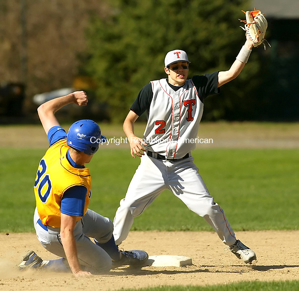 WINSTED, CT 4/30/07- 043007BZ06- Gilbert's Sam Serafini (30) gets safely back to second as Terryville's Pat Mulcahy (2) tries for the tag<br /> during their game at Walker Field in Winsted Monday.<br /> Jamison C. Bazinet Republican-American