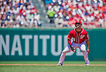 31 May 2014: Washington Nationals second baseman Danny Espinosa takes a lead off second during play against the Texas Rangers at Nationals Park in Washington, DC. The Nationals defeated the Rangers 10-2, notching a second win of their 3-game inter-league series. Mandatory Credit: Ed Wolfstein Photo *** RAW (NEF) Image File Available ***