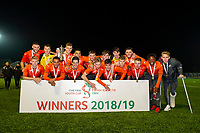 Pictured: Swansea City celebrate winning the FAW youth cup final between Swansea City and The New Saints at Park Avenue in Aberystwyth Town, Wales, UK.<br /> Wednesday 17 April 2019