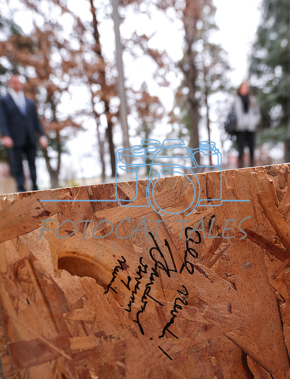 Gov. Brian Sandoval autographed the vault that will house the NV150 time capsule at the Capitol, in Carson City, Nev., on Monday, Dec. 15, 2014.<br /> Photo by Cathleen Allison